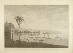 'View of the Village of Rajemahal' [Rajmahal]. Drawn and engraved by J. Moffatt, published Calcutta, 1806